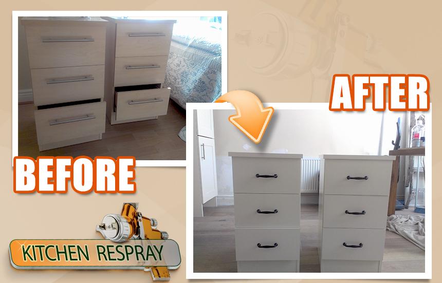 Respray bedside side lockers